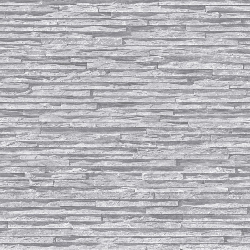 Muriva bluff slate pattern stone brick grey vinyl for Gray vinyl wallpaper