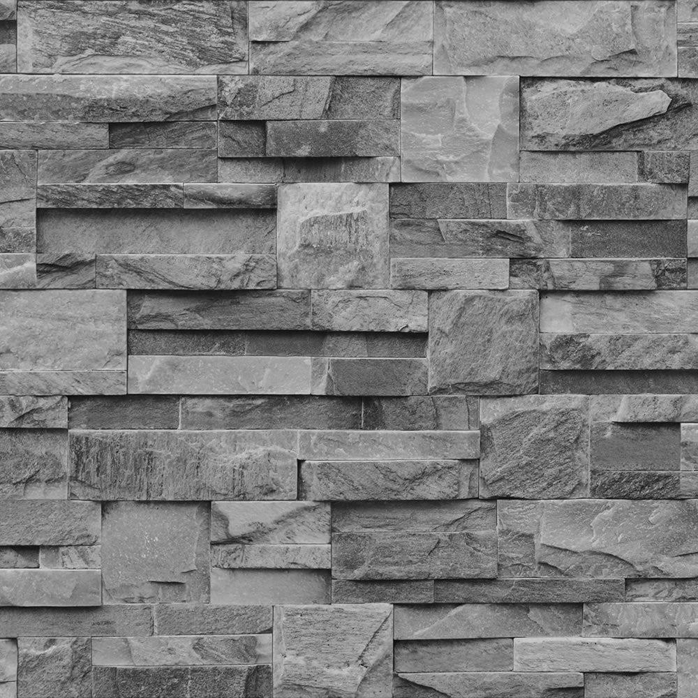 Muriva Bluff Slate Stone Block Brick Effect Wallpaper Grey ...