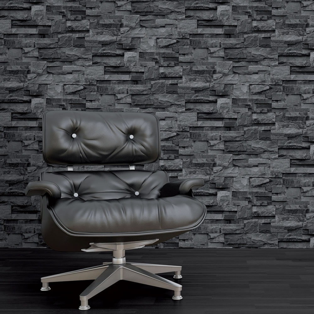 Muriva Bluff Slate Stone Block Brick Effect Wallpaper Grey