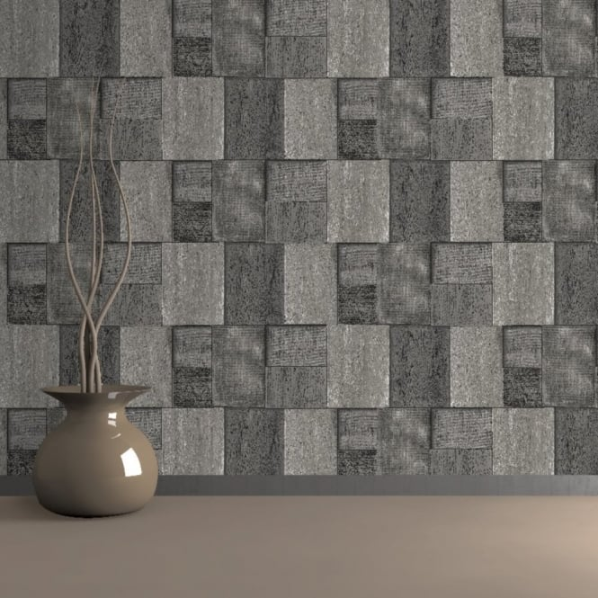 Muriva Bluff Wood Blocks Brick Pattern Embossed Vinyl Mural Wallpaper J27009