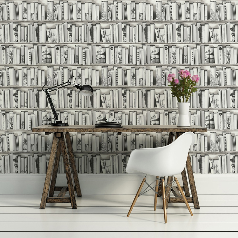 Muriva book shelf case pattern library vintage white for Book wallpaper for walls