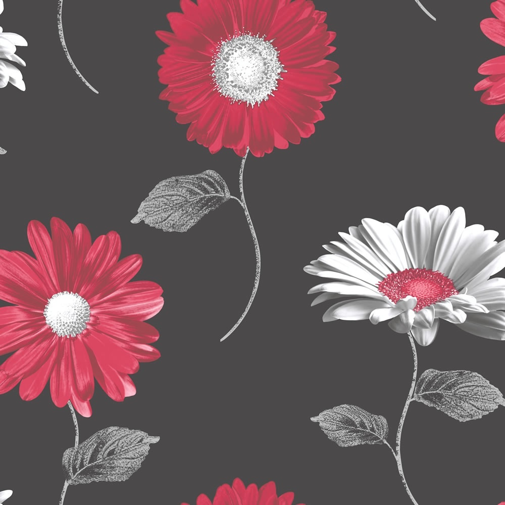 Muriva Daisy Floral Metallic Gerbera Flower Wallpaper Red