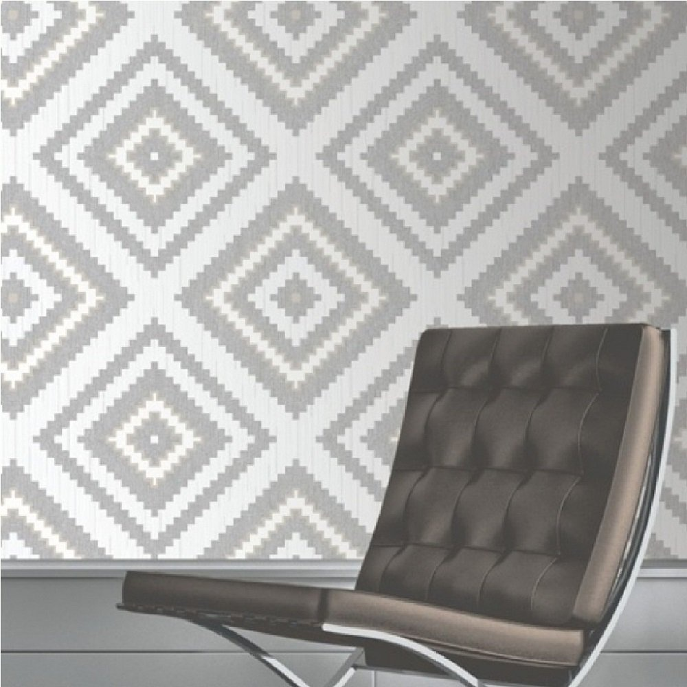 Muriva eton aztec diamond textured blown vinyl wallpaper for Gray vinyl wallpaper