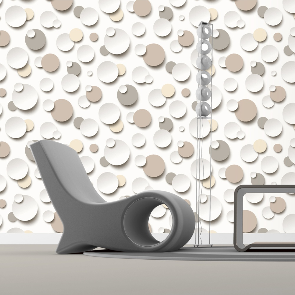 Muriva just like it circles polka dot spots designer for Designer wallpaper uk