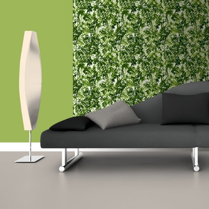 Muriva Just Like It Foliage Floral Leaf Green Leaves Embossed Blown Vinyl Wallpaper J67704