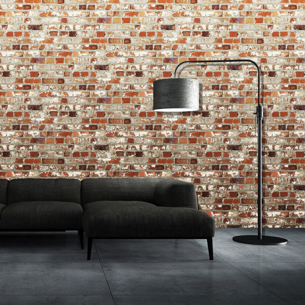 Muriva just like it loft brick faux red wall effect for Wallpapered walls