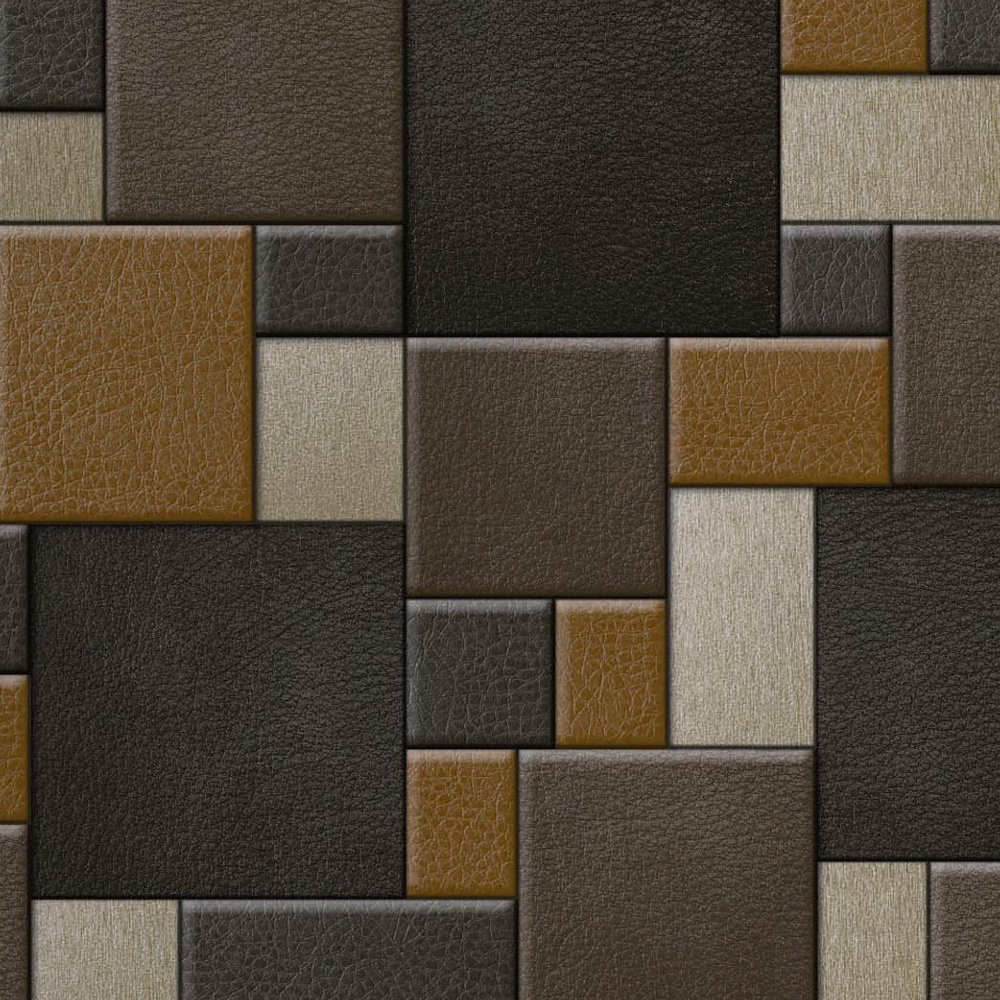 Muriva Leather Square Pattern Faux Effect Vinyl Mural Wallpaper F95708