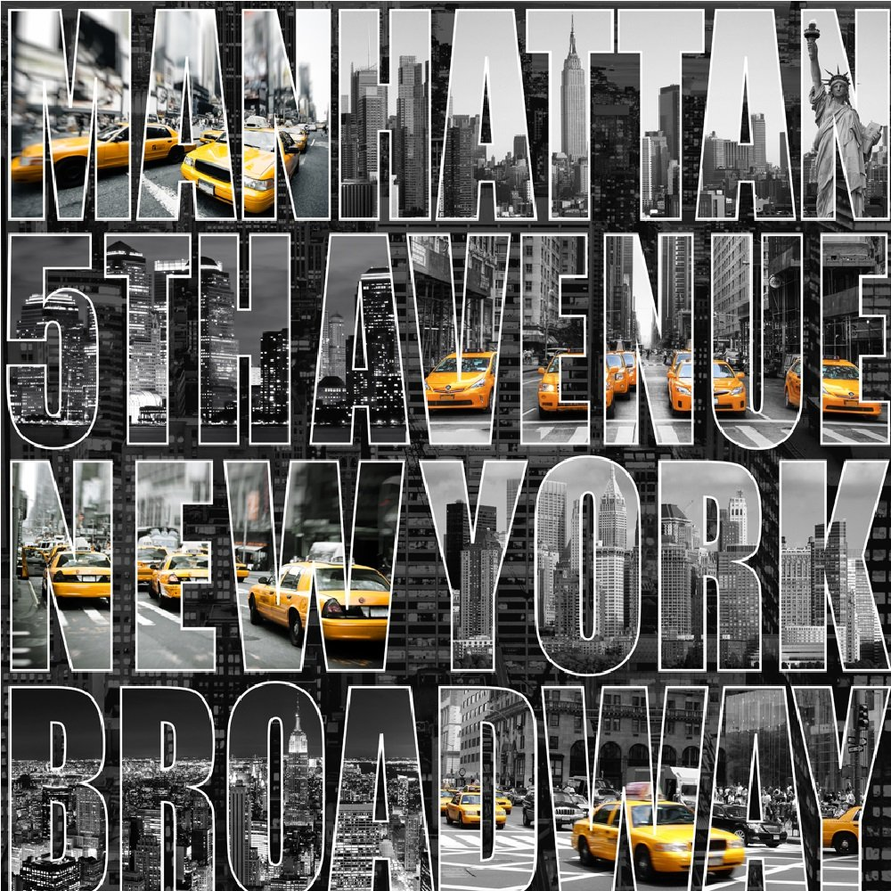 Muriva letters from new york street scene typography for Wallpaper home new york