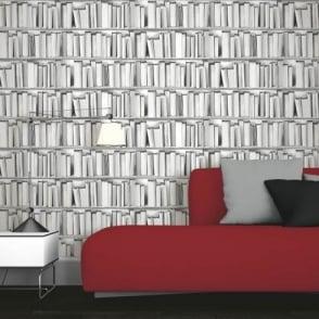 Muriva Library Pattern Book Shelf Motif Vinyl Textured Mural Wallpaper 578429