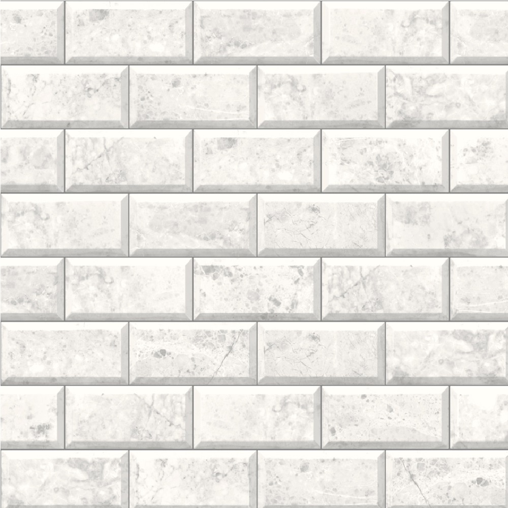 Muriva Marble Tile Brick Effect Embossed Vinyl Wallpaper