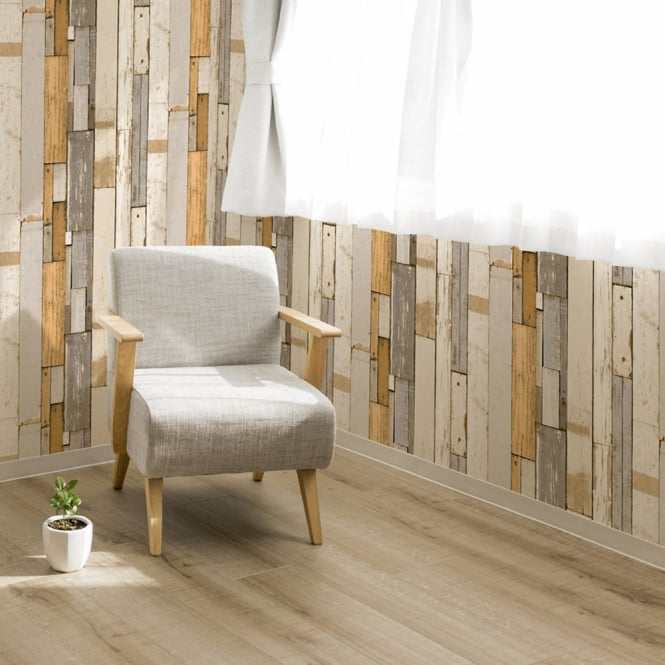 Muriva Painted Wood Beam Stripe Pattern Wallpaper Distressed Faux Effect L10402