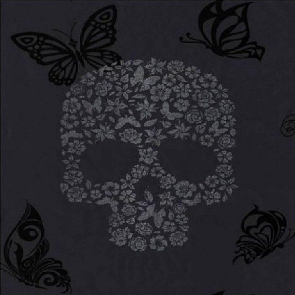 muriva skulls bird butterfly motif wallpaper black j21809