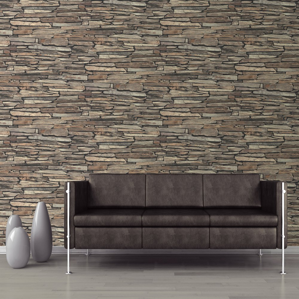 Muriva slate wall pattern faux effect stone vinyl 1 wall wallpaper