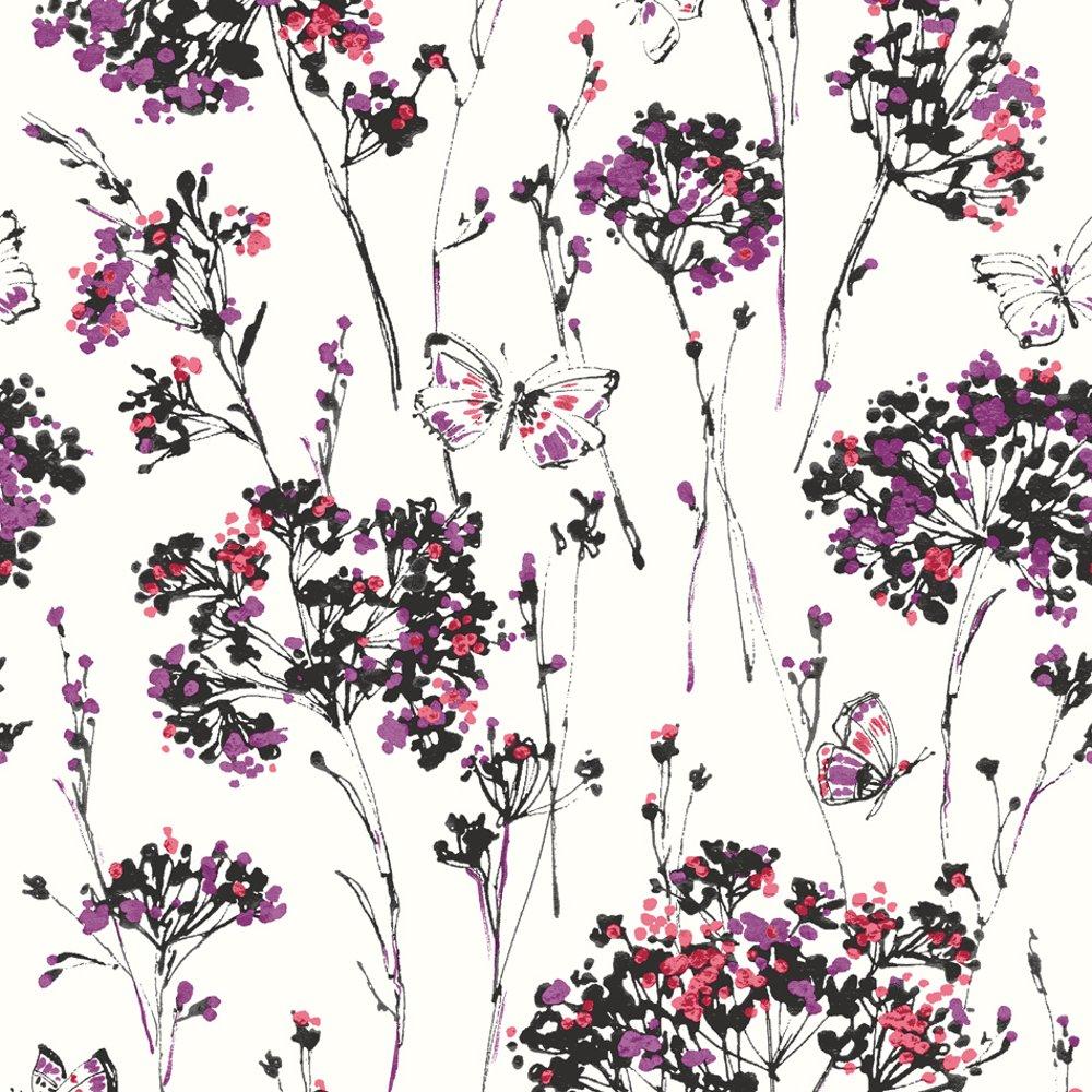 muriva butterfly floral butterflies flower textured. Black Bedroom Furniture Sets. Home Design Ideas