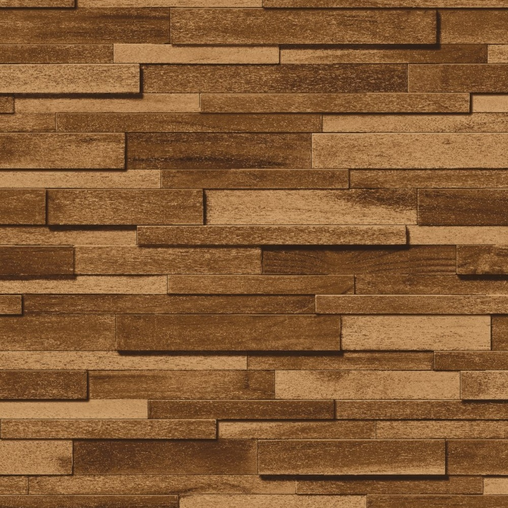 Muriva thin wood block pattern embossed vinyl wallpaper j45308 for Wood wallpaper for walls