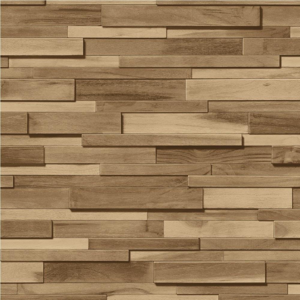 Muriva Thin Wood Blocks Brown Effect Vinyl Wallpaper