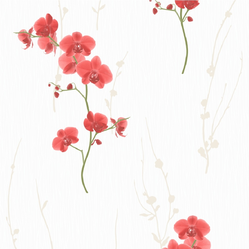 Muriva orchid floral wallpaper f56350 red i want wallpaper muriva orchid floral wallpaper f56350 mightylinksfo