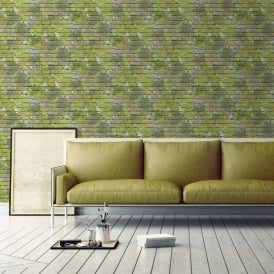 Muriva Painted Brick Pattern Wallpaper Paint Splash Colourful Textured L33504