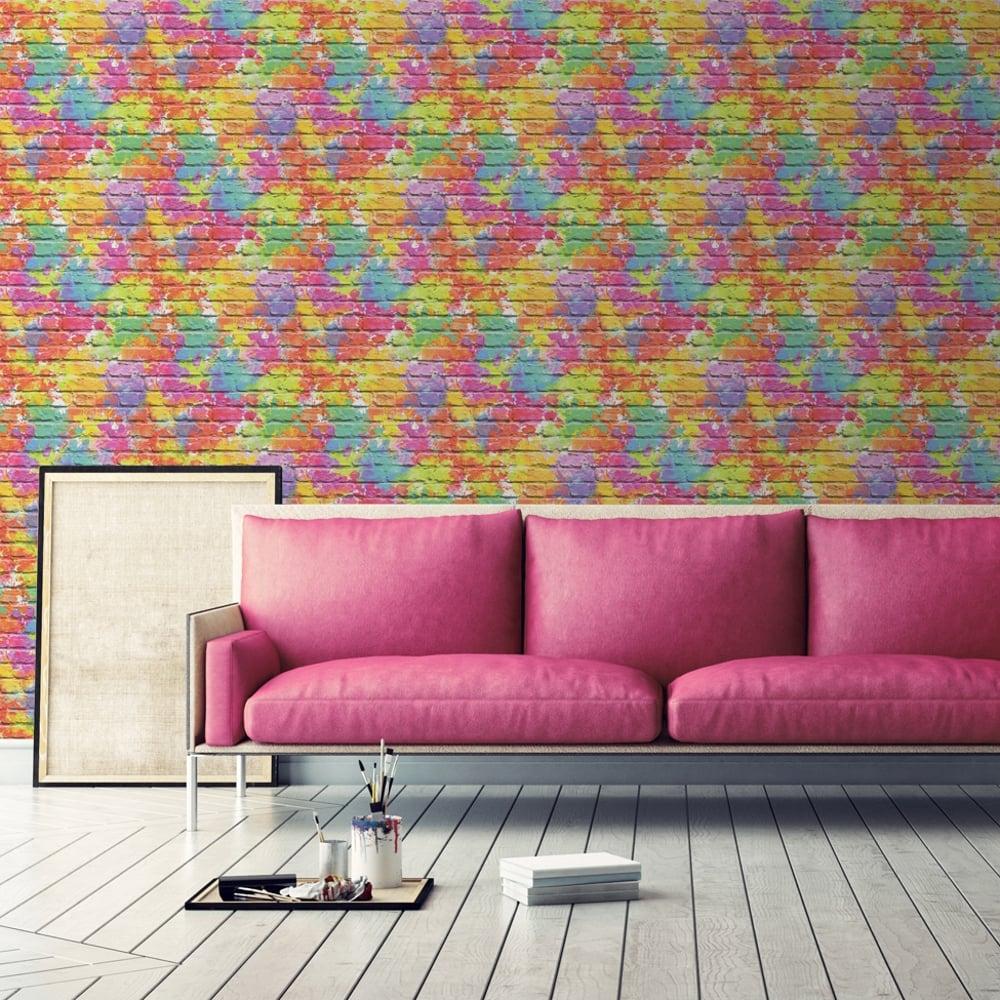 Muriva Painted Brick Pattern Wallpaper Paint Splash Colourful