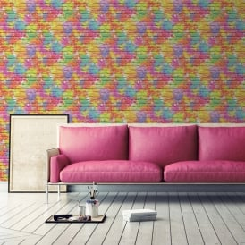 Muriva Painted Brick Pattern Wallpaper Paint Splash Colourful Textured L33505