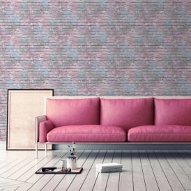 Muriva Painted Brick Pattern Wallpaper Paint Splash Colourful Textured L33506