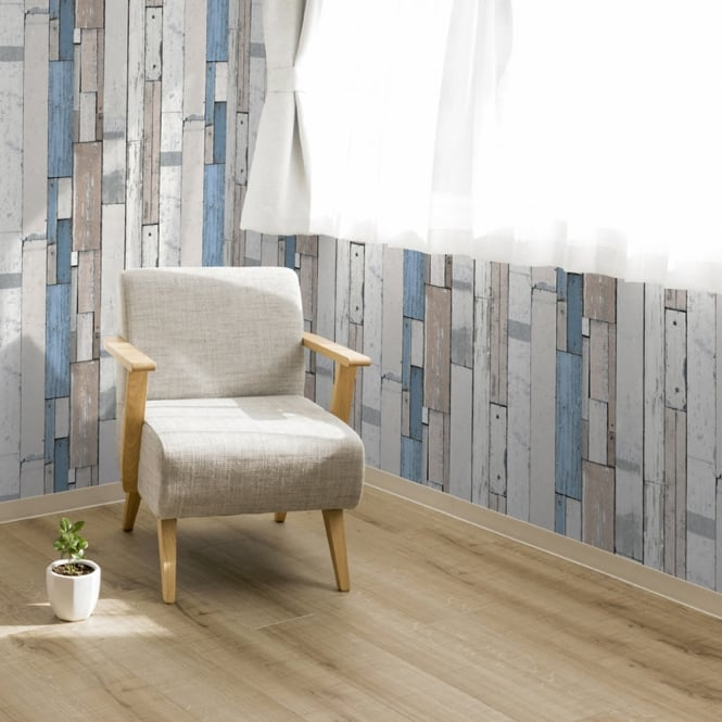 Muriva Painted Wood Beam Stripe Pattern Wallpaper Distressed Faux Effect L10401
