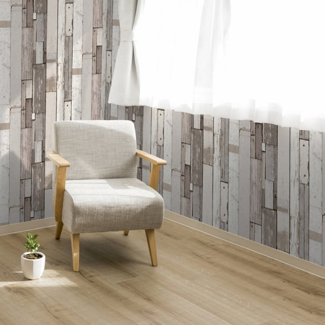 Muriva Painted Wood Beam Stripe Pattern Wallpaper Distressed Faux Effect L10409