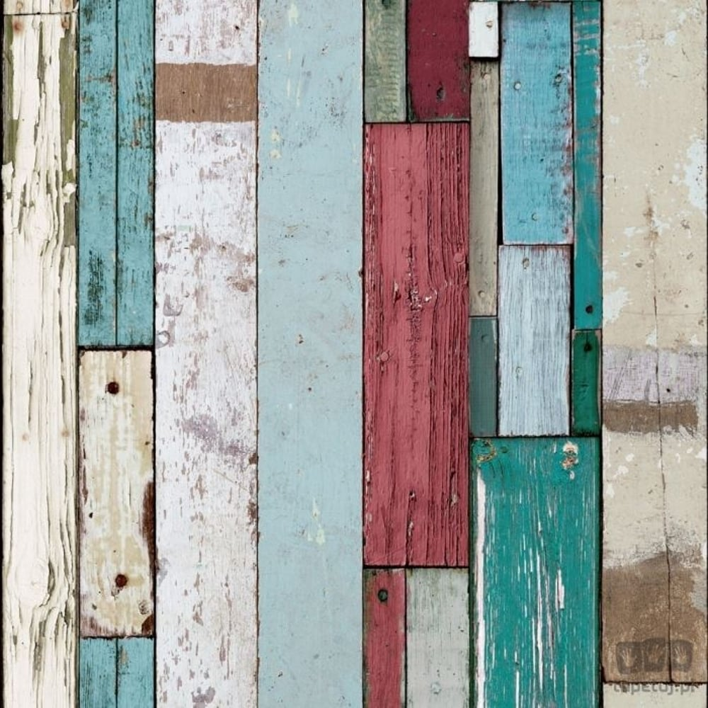Muriva Painted Wood Beam Stripe Pattern Wallpaper Distressed Faux Effect L10410