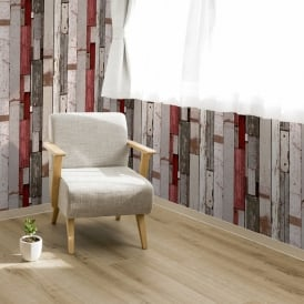 Muriva Painted Wood Beam Stripe Pattern Wallpaper Distressed Faux Effect L10420