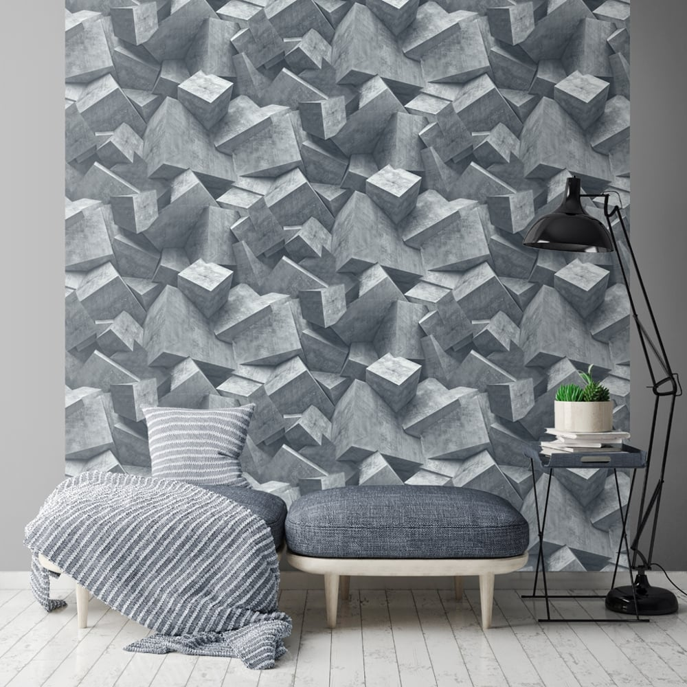 3fe3cafa6929b Quadra Stone Cube Pattern Wallpaper 3D Effect Square Textured Vinyl L50501
