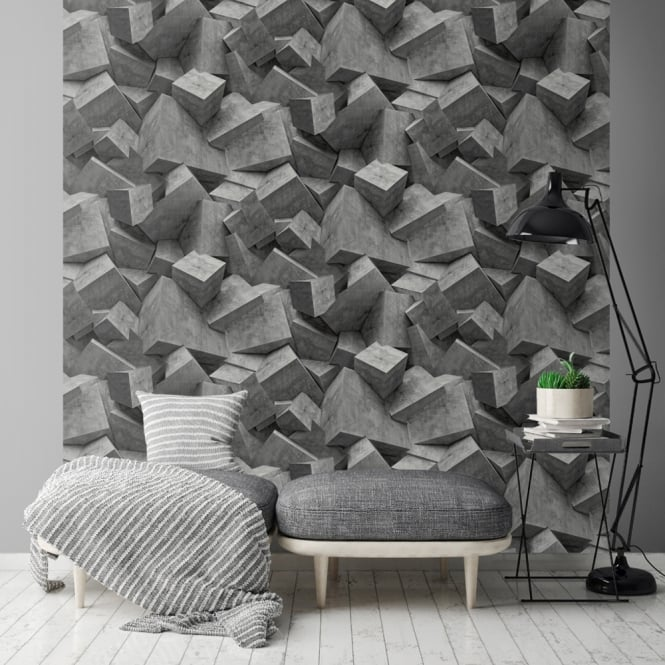 Muriva Stone Cube Pattern Wallpaper 3d Square Textured