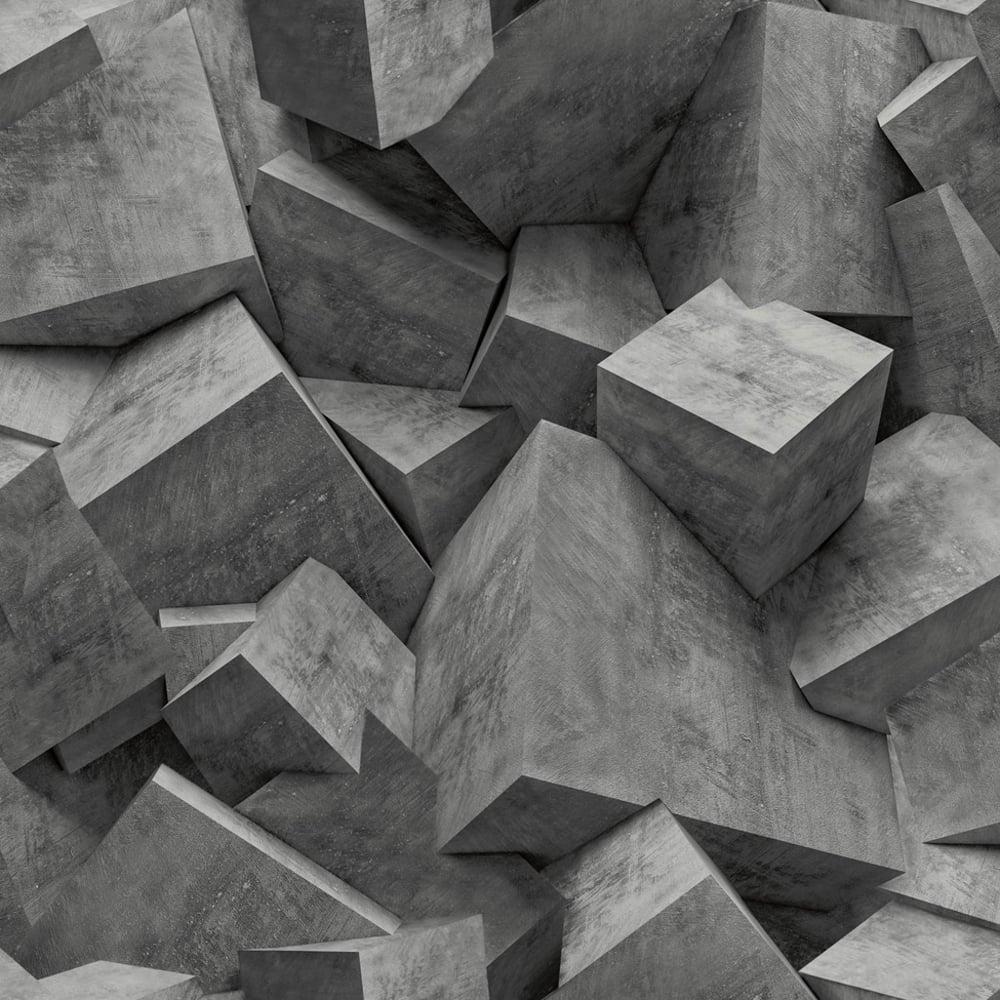 Muriva Quadra Stone Cube Pattern Wallpaper 3D Effect Square Textured Vinyl L