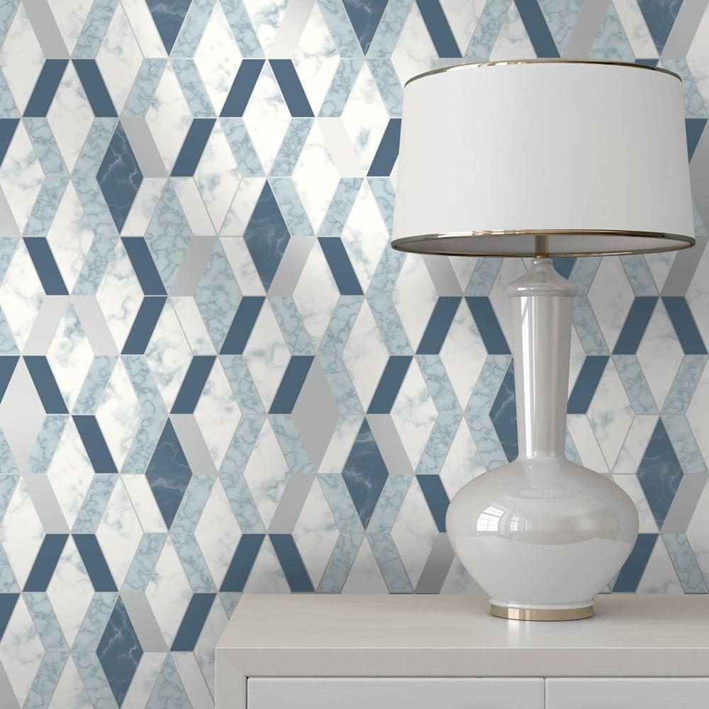 Muriva Runa Marble Tile Pattern Wallpaper Faux Metallic Vinyl L63801