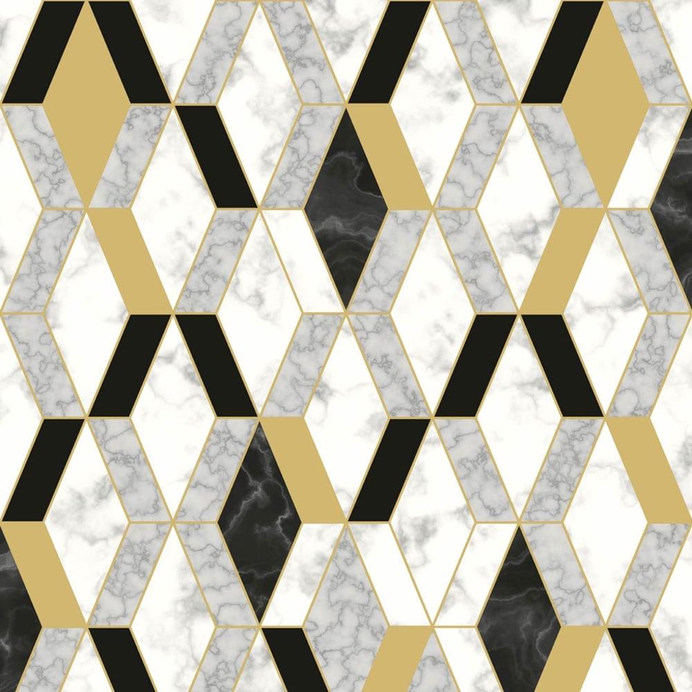 Muriva Runa Marble Tile Pattern Wallpaper Faux Metallic Vinyl L63802