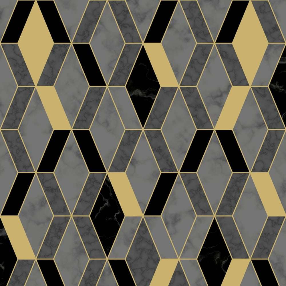 Muriva Runa Marble Tile Pattern Wallpaper Faux Metallic