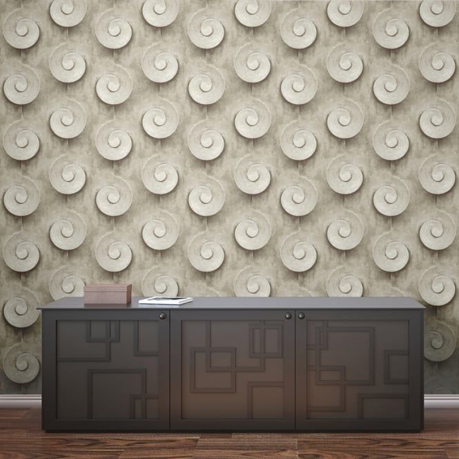 Muriva Sea Shell Swirl Pattern Wallpaper Stone Effect Fossil L13908