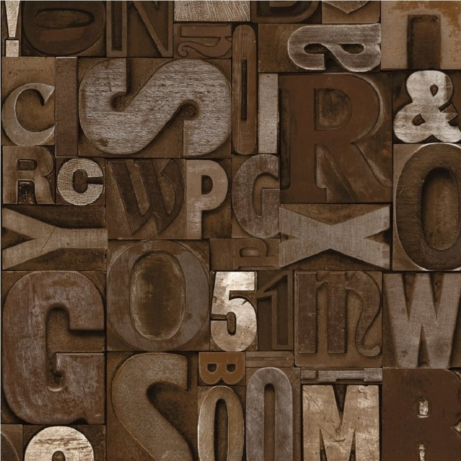 Muriva Slate Letters Typography Wallpaper J48008