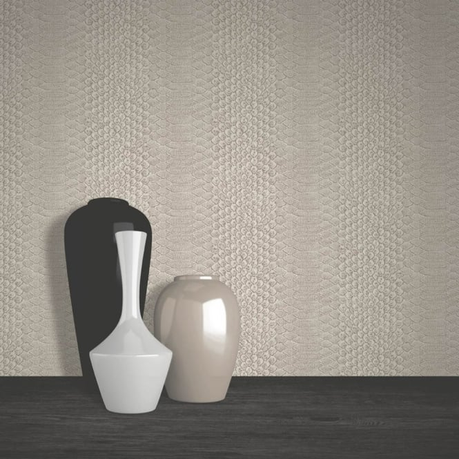 Muriva Snake Skin Pattern Animal Print Faux Effect Textured Vinyl Wallpaper J95708
