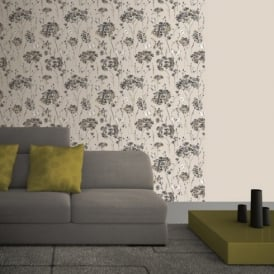 Muriva Soft & Natural Butterfly Floral Butterflies Flower Motif Textured Wallpaper J63309