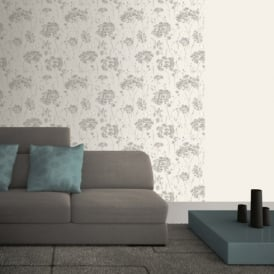 Muriva Soft & Natural Butterfly Floral Butterflies Flower Motif Textured Wallpaper J63319