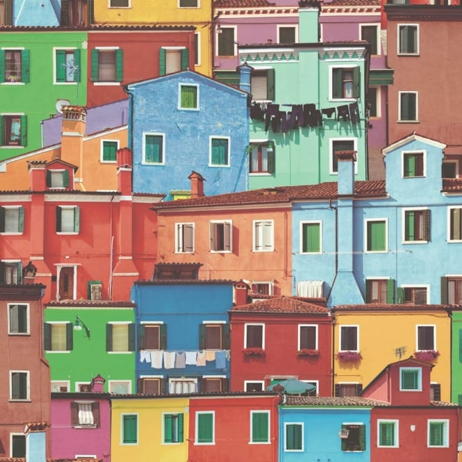 Muriva Sorrento Houses Pattern Rainbow Photograph Mural Wallpaper J78930