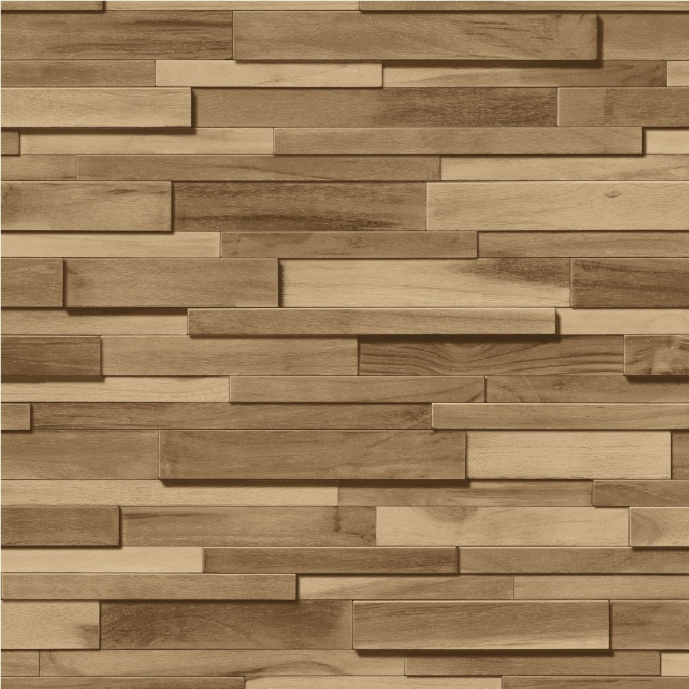 Muriva Thin Wood Blocks Brown Effect Vinyl Wallpaper