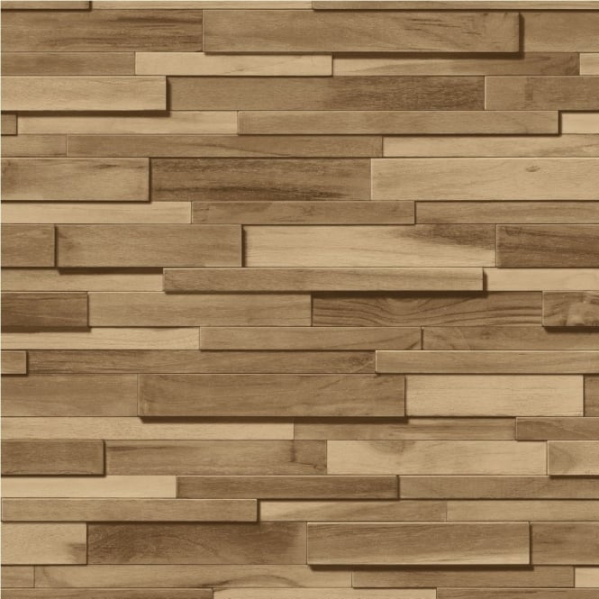 Muriva thin wood blocks brown wood effect vinyl wallpaper - Dalles murales adhesives ...