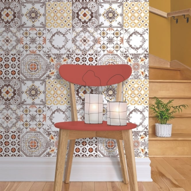 Muriva tile pattern retro floral motif kitchen bathroom vinyl wallpaper j95605 orange white - Washable wallpaper ...