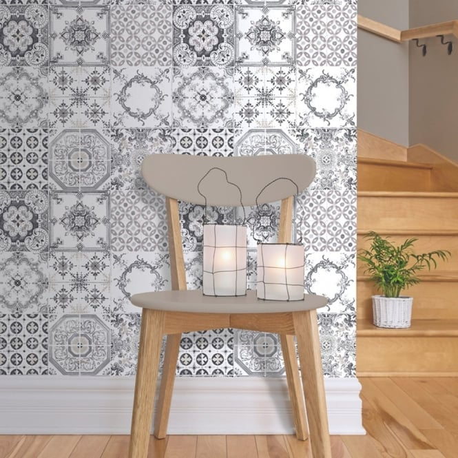 Black White Kitchen Wallpaper: Muriva Tile Pattern Retro Floral Motif Kitchen Bathroom