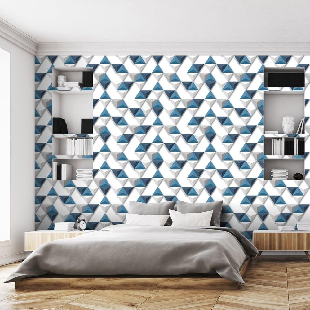 Muriva Triangle Pattern Wallpaper Geometric 3D Effect