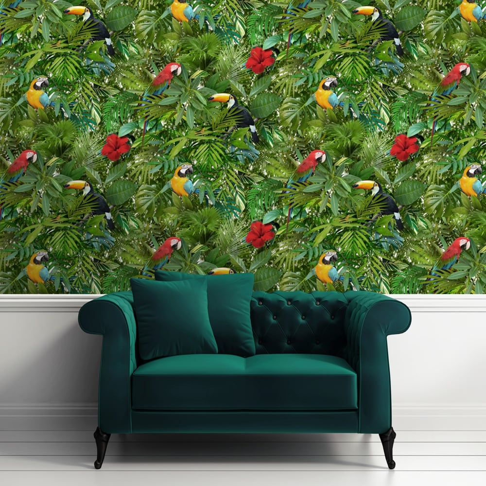 muriva tropical bird pattern wallpaper jungle flower leaf vinyl l12304