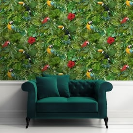 Muriva Tropical Bird Parrot Pattern Wallpaper Jungle Flower Leaves Vinyl L12304