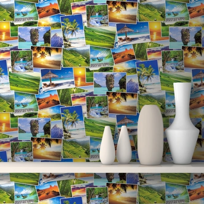 Muriva Tropical Photo Collage Pattern Paradise Holiday Wallpaper J81304