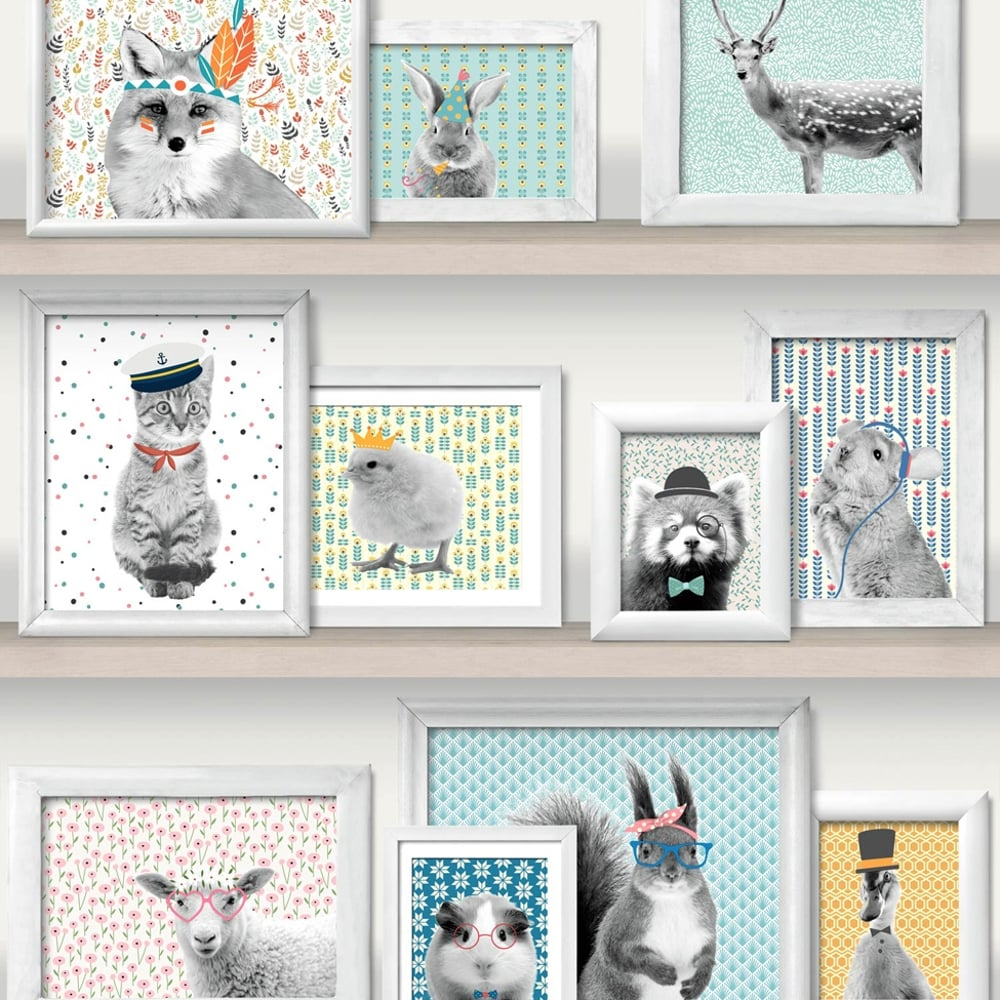 Muriva Wild Frames Animal Picture Pattern Wallpaper Cat Bird Photo ...